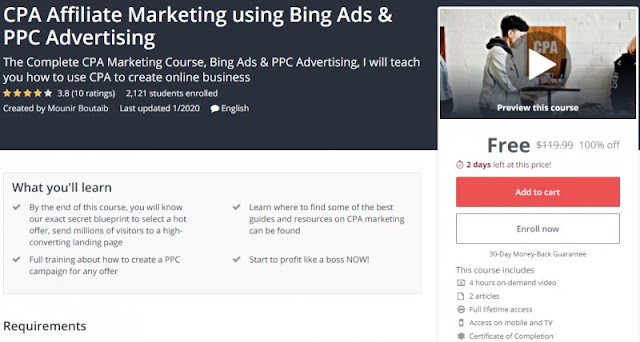 [100% Off] CPA Affiliate Marketing using Bing Ads & PPC Advertising| Worth 119,99$