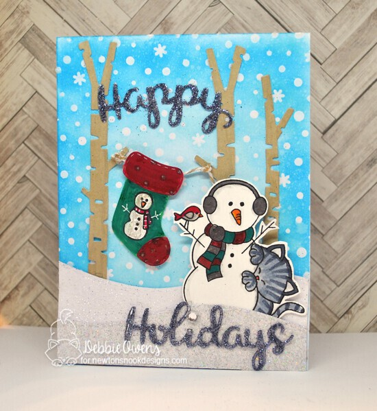 Happy Holidays by Debbie featuring Newton's Curious Christmas, Petite Snow, Forest Scene Builder, Stylish Stockings, Snow Globe Scenes, Land Borders, and Holiday Greetings by Newton's Nook Designs; #newtonsnook