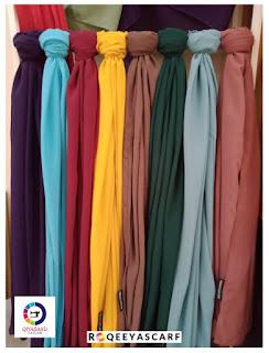 Shawl by Qiya Saad, bisnes shawl, jual shawl, kain shiffon, harga shawl, supplier shawl klang dan shah alam, shawl labuh, qiya saad tailor, jahit tudung, shawl Chiffon plain, roqeeyascarf, hijabista, wanita perempuan gadis isteri cantik tutup aurat, selendang,