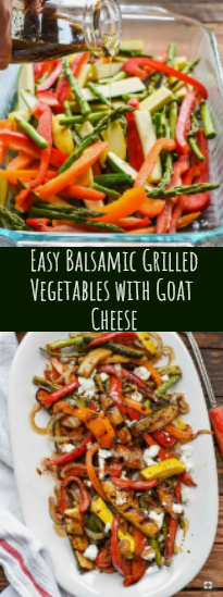 Easy Balsamic Grilled Vegetables with Goat  Cheese #vegan #recipeeasy