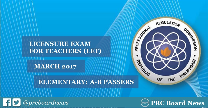 A-B Passers List: March 2017 LET Results Elementary