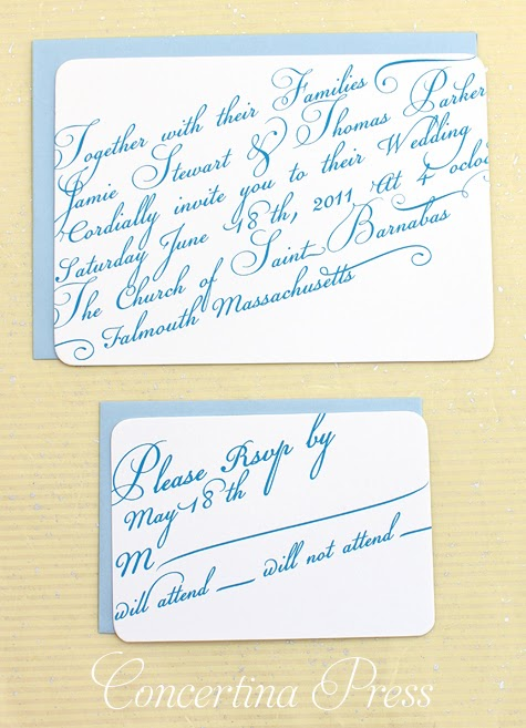 Concertina Press - Stationery and Invitations: Blue Diagonal