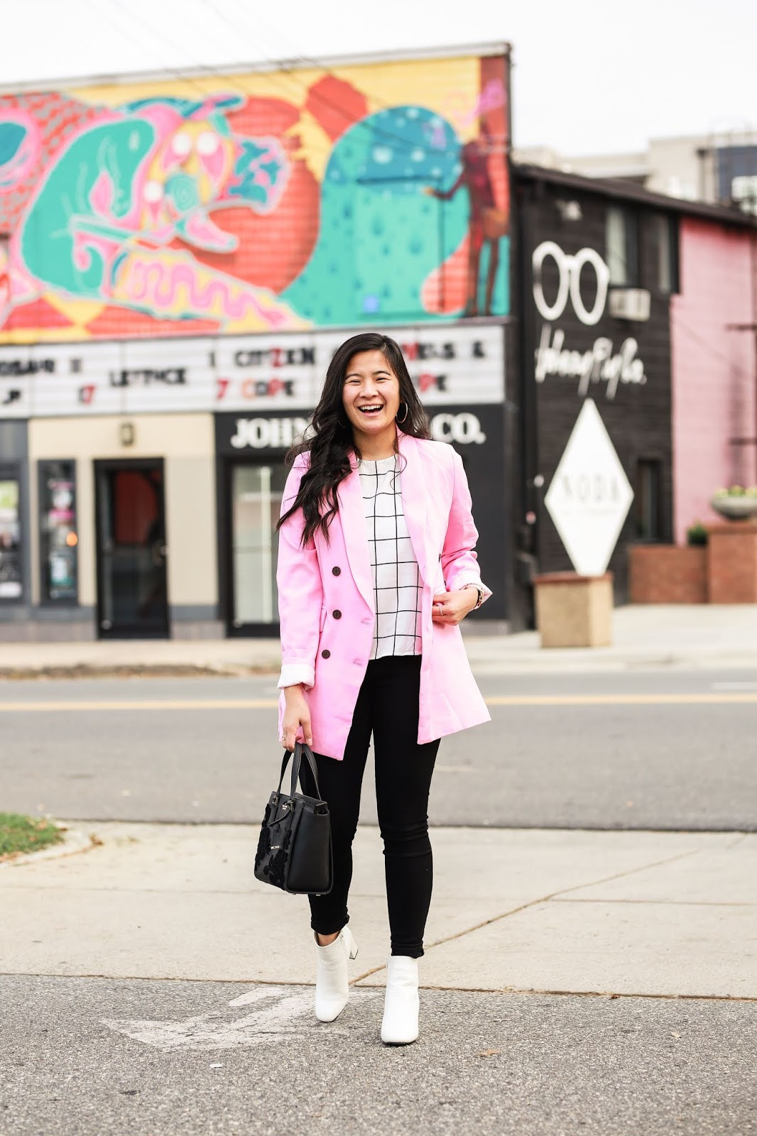 How to style a pink coat for fall / winter