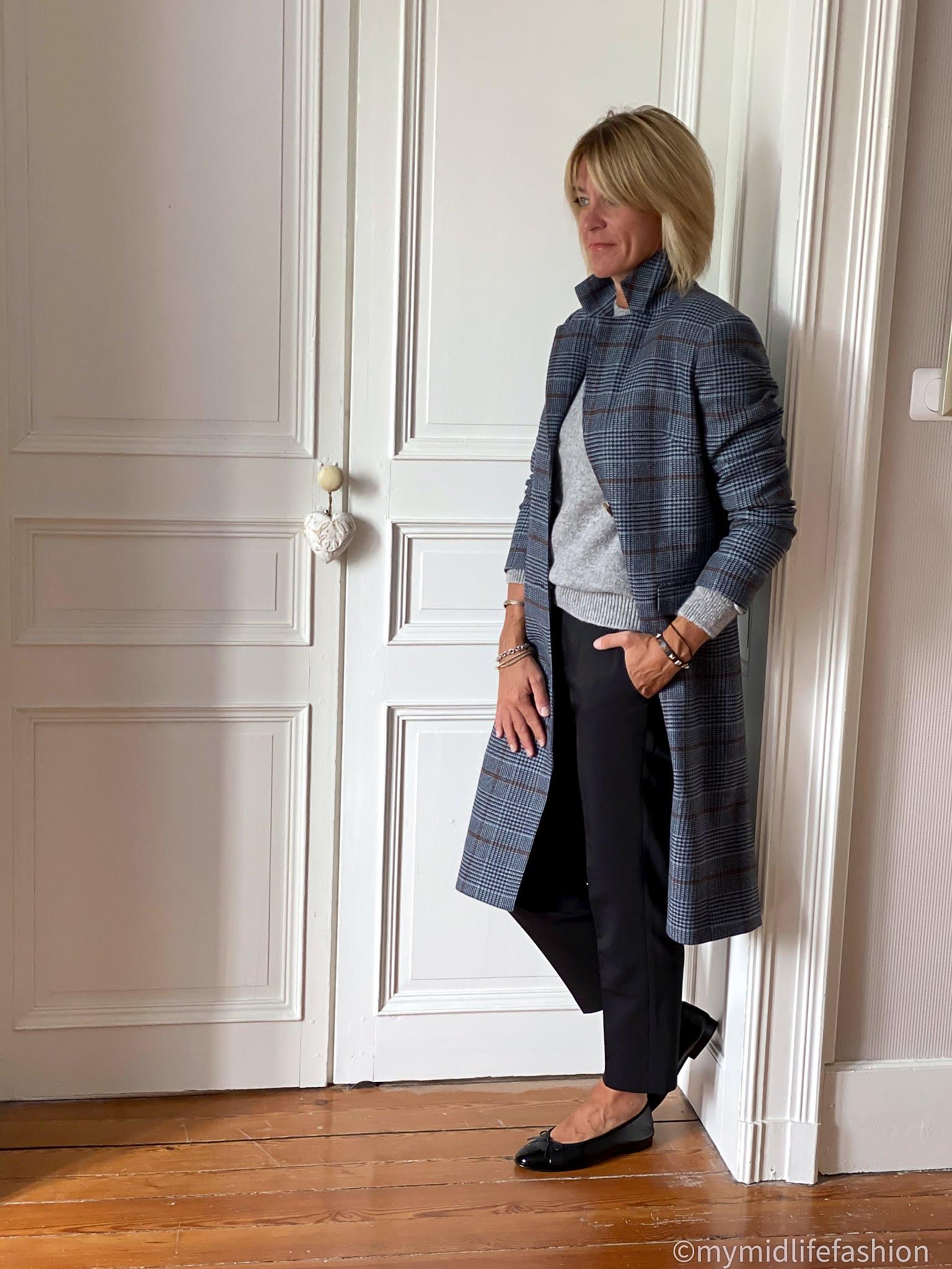 My midlife fashion, Baukjen shannon jumper, baukjen agnes coat, baukjen the cigarette pant, Chanel quilted handbag, Chanel ballet pumps, Chanel brooch, Valentino rockstud bracelet