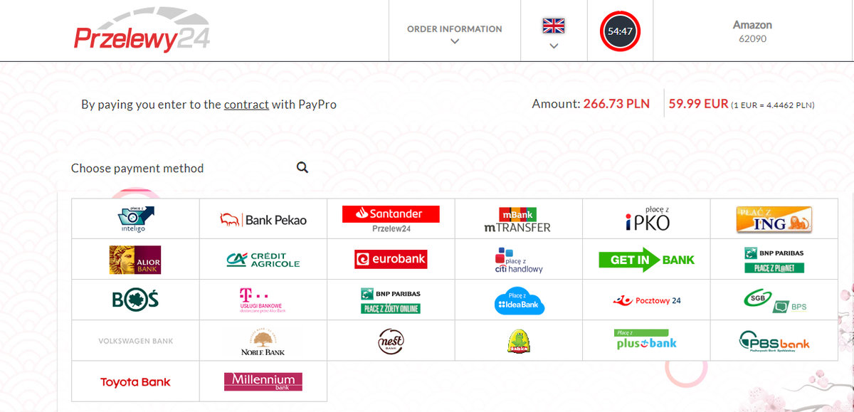 Podsumowanie płatności za Kindle 10 z wykorzystaniem usługi Przelewy24