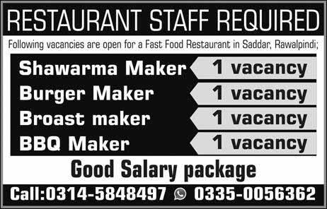 Restaurant Jobs in Rawalpindi