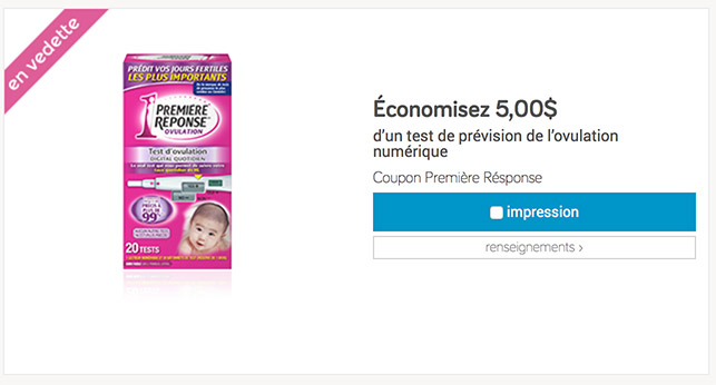 coupon rabais test grossesse