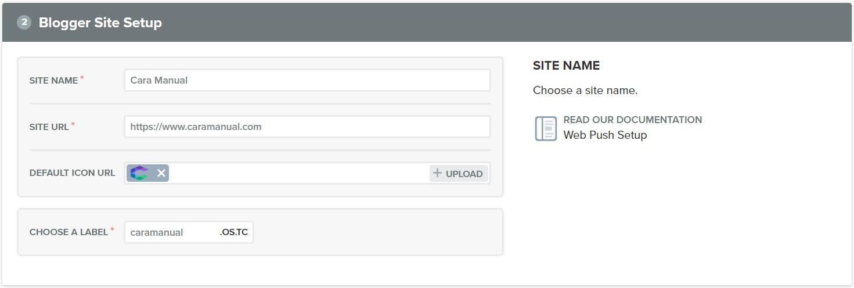 Blogger site setup onesignal