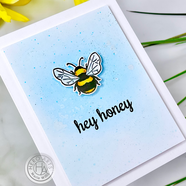 Cardbomb, Maria Willis,Hero Arts, stamp, stamping, cards, card making, handmade, bees, art, paper, paper craft, ink, diy, color, watercolor, die cutting, ink blending,