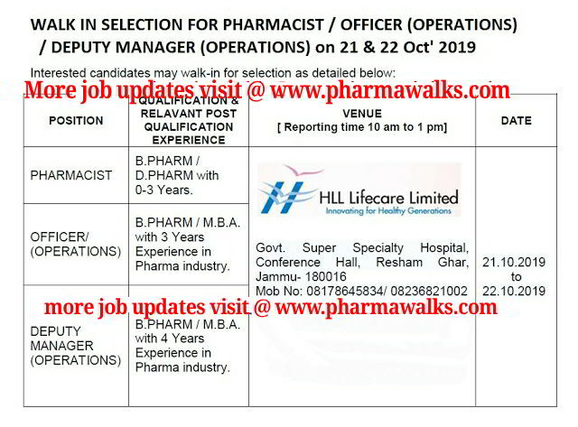 HLL Limited - Walk-in interview for Pharmacist / Officer / Deputy Manager (Operations) on 21st & 22nd October, 2019