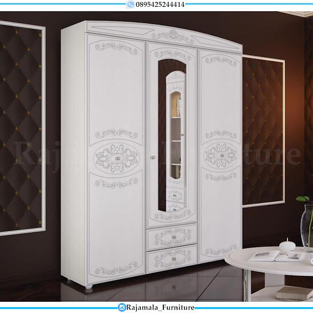 Lemari Baju Minimalis Kaca Putih Duco Elegant Style RM-0423