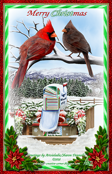 Christmas Cardinals (2) art by/copyrighted to Artsieladie