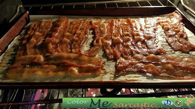 Bacon frying in the oven