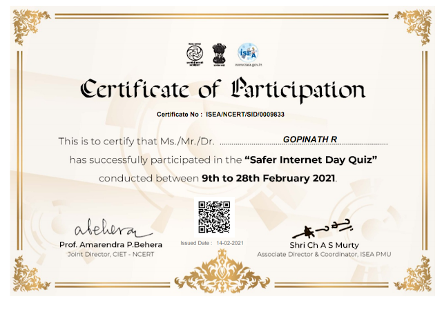 SAFER INTERNET DAY QUIZ BY Information Security Education and Awareness ISEA NCERT CIET