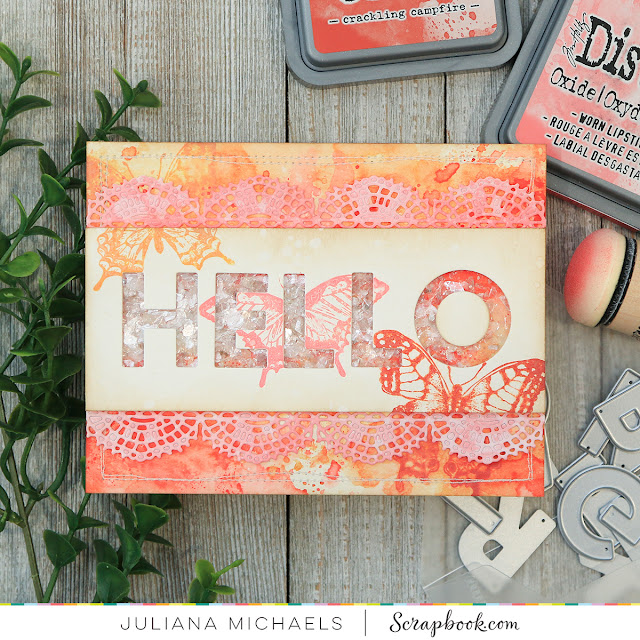 Hello Shaker Card by Juliana Michaels featuring Scrapbook.com Exclusive Adhesives