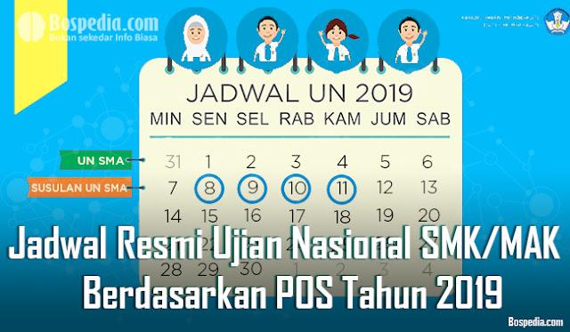 Jadwal Resmi UNBK dan UN SMK/MAK Berdasarkan POS Tahun 2019