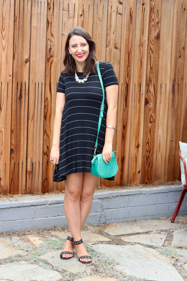 eaf8ba8aabf9 Black and white striped t-shirt dress (also seen here)  c o PinkBlush