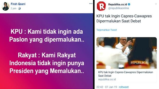 Netizen Balas KPU: Kami Rakyat Indonesia Tidak Ingin Punya Presiden yang Memalukan