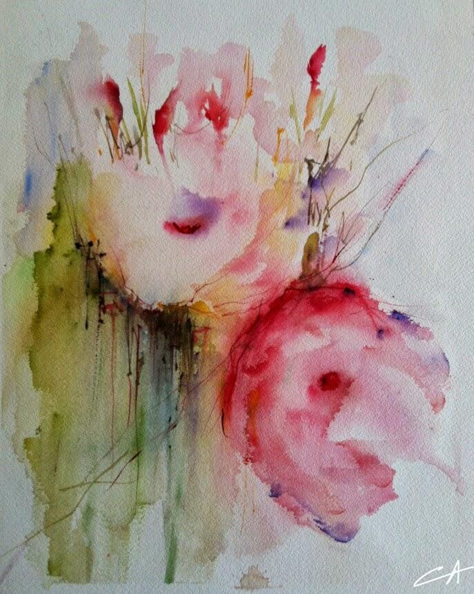fleurs, Nature morte, Aquarelle