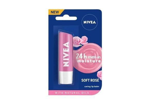 NIVEA Lip Balm, Soft Rose, for 24h Moisture with Natural Oils, Delicate Rose Shine