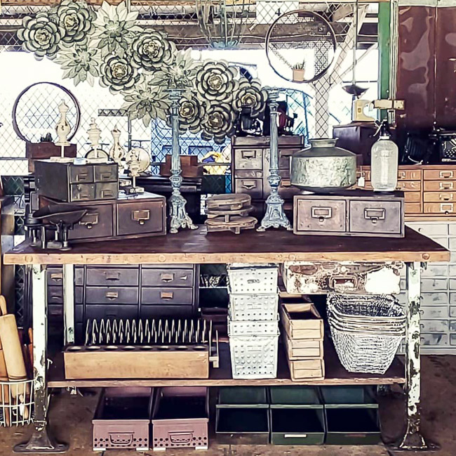 Vintage card catalogs and industrial decor
