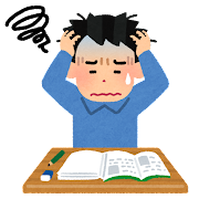 勉強が不調な人のイラスト(男性)