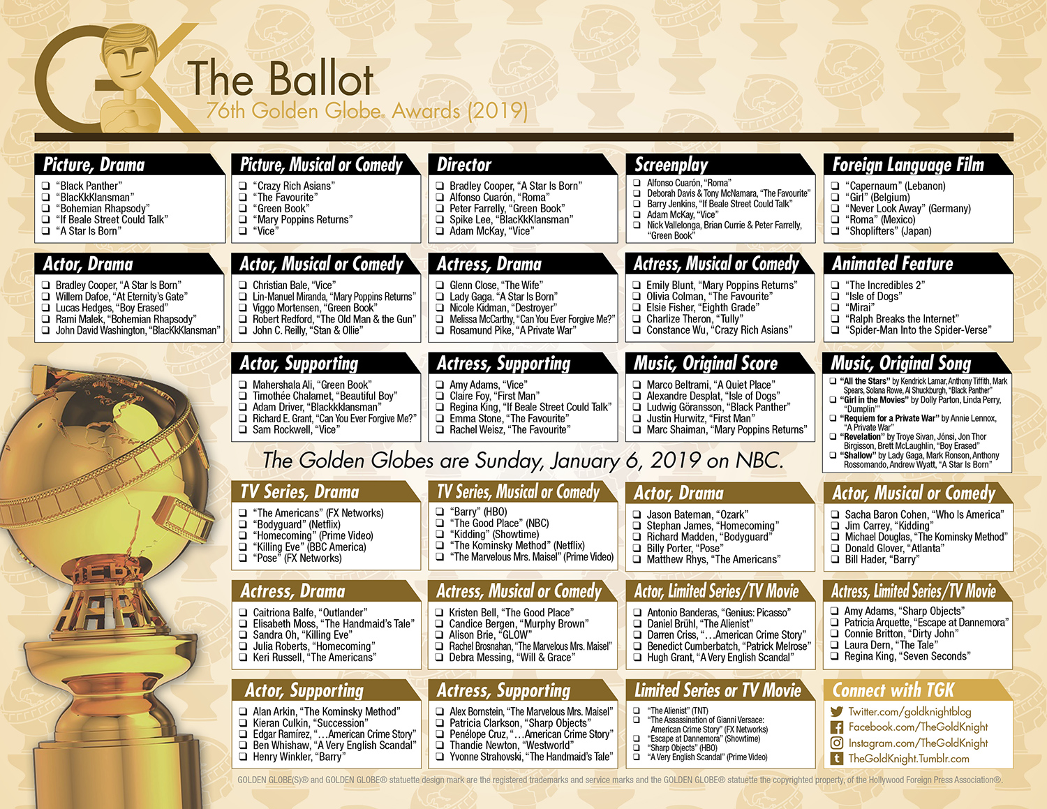 graphic about Golden Globe Printable Ballots known as 2019 Golden World Awards printable ballot The Gold Knight