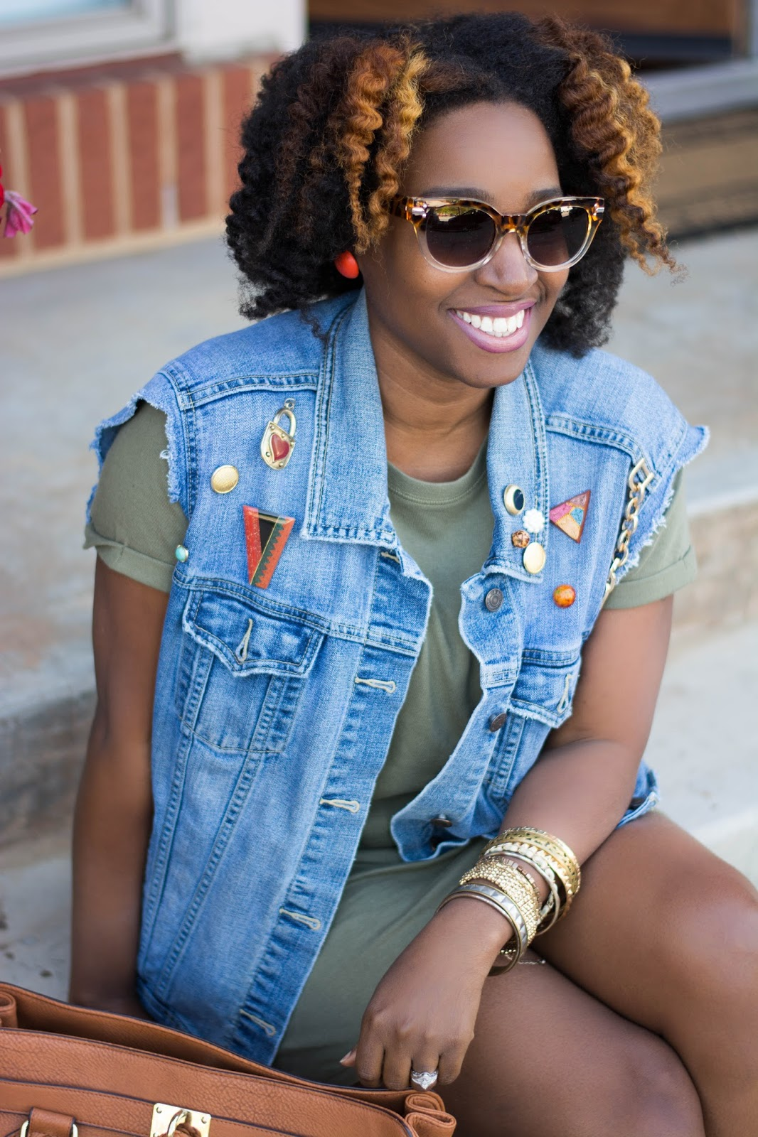 Atlanta stylist, Atlanta blogger, Style blogger, Black blogger, Black girls killing it, Black girls rock, Forever21, Booties, Handbag, T-Shirt dress, Denim vest, Diy street fashion, Brown girls, Natural Hair, Shoedazzle, Olive shirt dress, Summerwear, Springwear
