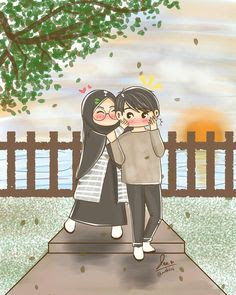 Muslim Couple Cartoon  photo