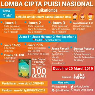 Lomba Cipta Puisi Nasional 2019 di @ikutlomba