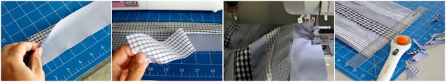 DIY instructions for sewing and piecing fabric from old dress shirts.