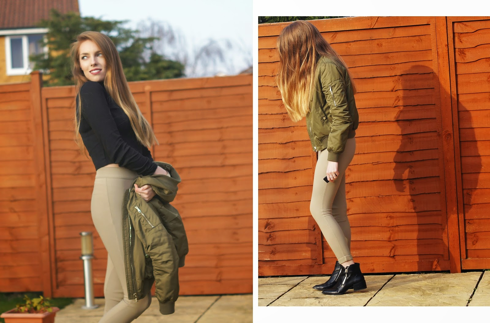 topshop bomber jacket american apparel riding pants asos turtle neck