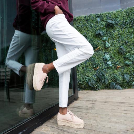 Pantofi casual albi cu talpa groasa super fashion