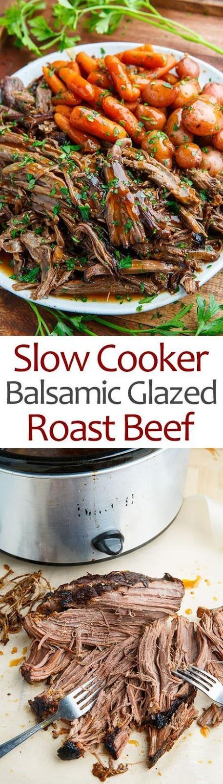 Delicios Slow Cooker Balsamic Glazed Roast Beef