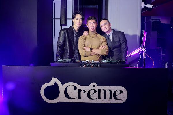 Crème APP 高端會員制社交平台高空聖誕餐會 - (左起)  水哥李英宏.DJ Mr.Gin. CÉ LA VI Taipei總經理暨Crème APP主理人Johnny Fei