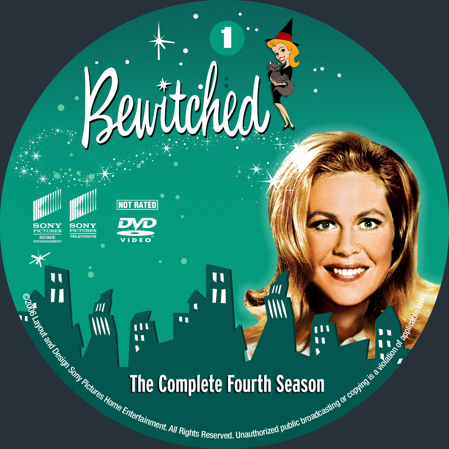 Bewitched Season 4 Disc 1-4 DVD Label