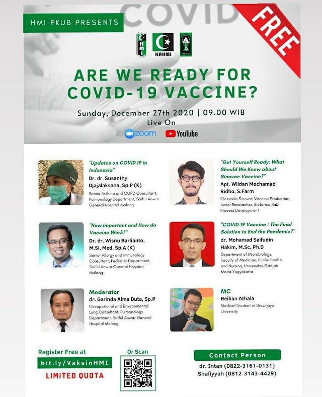 WEBINAR    Are We Ready for COVID-19 Vaccine?