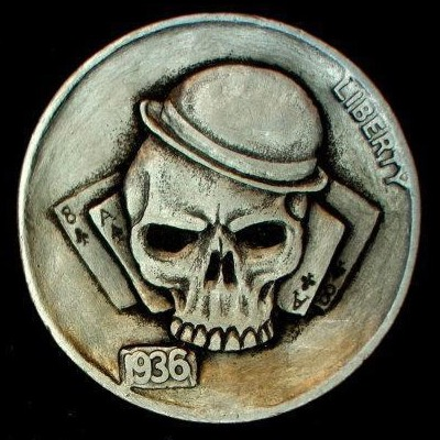 Skull hobo nickel, 1936