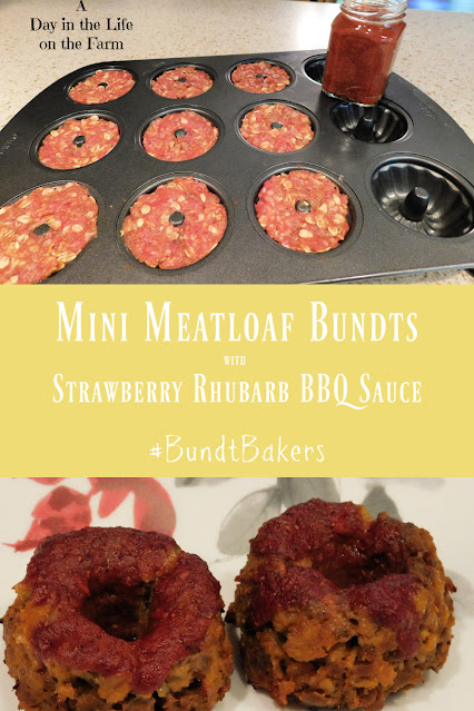 Mini Meatloaf Bundts with Strawberry Rhubarb BBQ Sauce pin