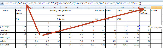 Enter grading formula in Excel