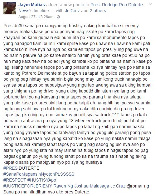 Jaym Matias Facebook post
