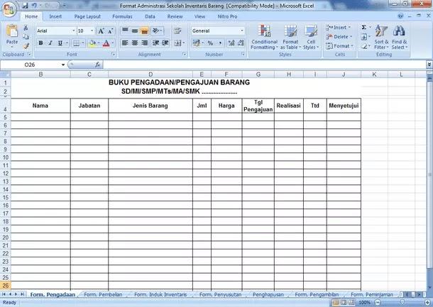Contoh Format Administrasi Sekolah Inventaris Barang