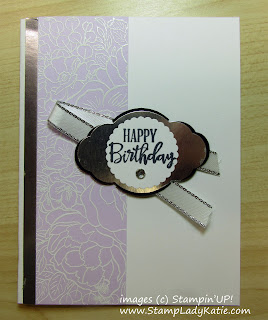Birthday card made with Stampin'UP!'s Breathtaking Bouquet stamp and Pretty Label Punch