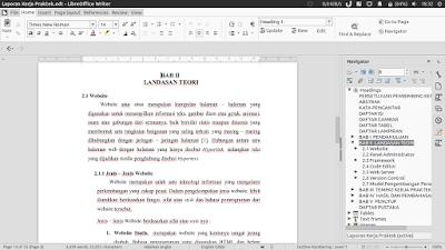 Libre Office 5.3 yang penulis pakai buat bikin laporan kerja praktek