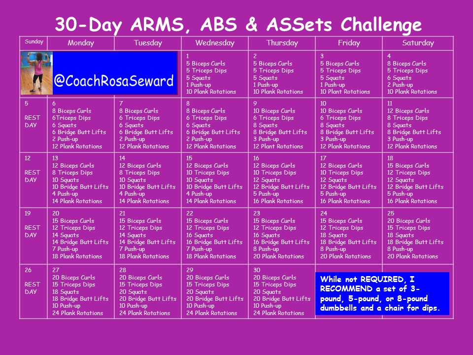 Coach Rosa Seward 30 Day Arms Abs Amp Assets Challenge