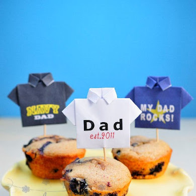 DIY Origami Shirt Cupcake Toppers for Father's Day