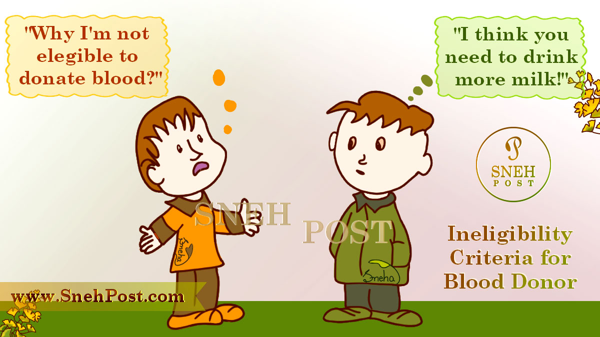 Ineligibility criteria of blood donation for blood donor on National Blood Donation Day in India: Cartoon illustration of two kids boys who are ineligibile