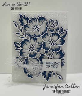 Thinking of you card using Stampin' Up!'s Blossoms in Bloom Bundle (Blossoms in Blooms set and Many Layered Blossoms dies) in Misty Moonlight.  We also used the Tasteful Textile embossing folder.  Click the picture to go to blog for video and supplies!  #StampinUp #StampTherapist