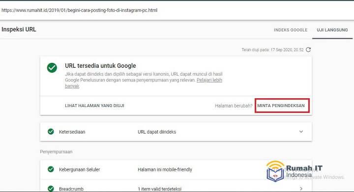 Mengatasi URL Yang Dikirimkan Memiliki Masalah Crawling