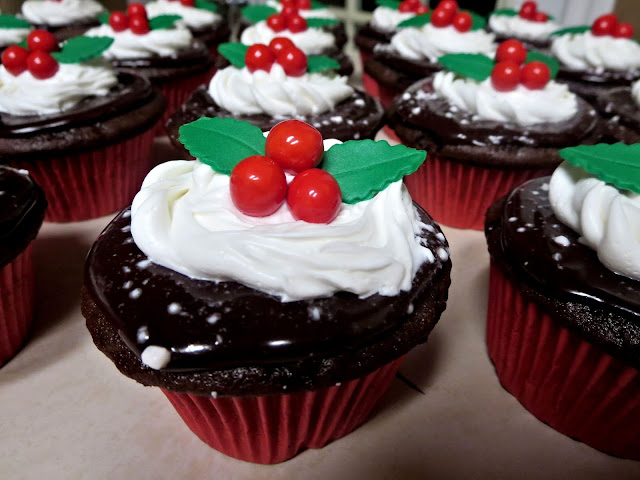 Christmas Holly Berry Chocolate Peppermint Cupcakes - Close Up 3